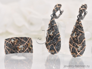 Гарнитур: Кольцо, Серьги с султанитом