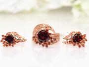 Набор бижутерии позолоченный, Серьги,Кольцо