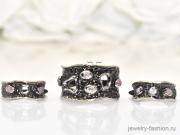 Гарнитур серьги и кольцо с турмалином